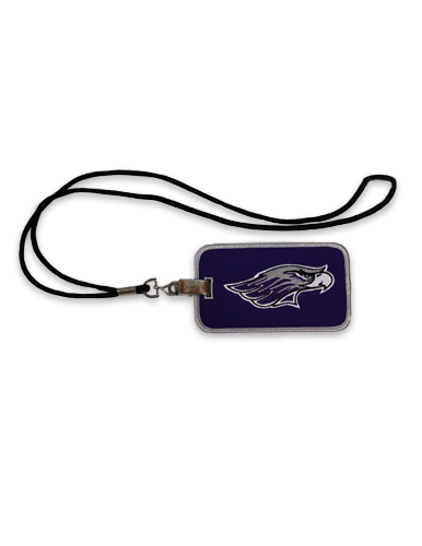 ID Holder / Lanyard - Black String with Mascot on Purple Holder (SKU 1047301633)