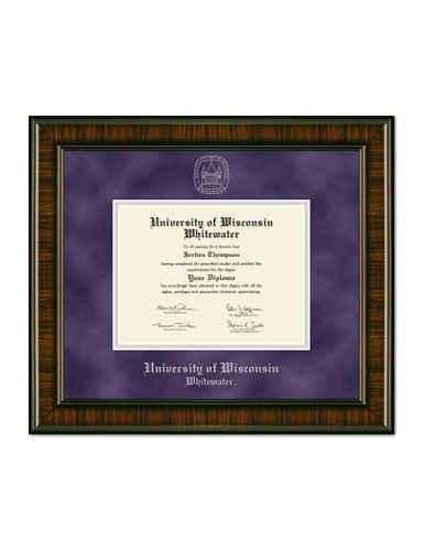 Silver Embossed Diploma Frame In Brentwood With Purple Suede/Silver Mats (SKU 1034712656)