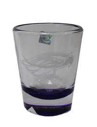 Glass - Clear with Purple Underneath and White Mascot