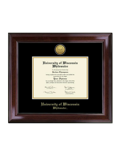 Gold Engraved Medallion Diploma Frame In Encore With Black/Gold Mats ...