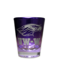 Glass - Purple with Silver Mascot over UW-W