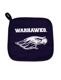 Neil Pot Holder with White Warhawks over Mascot