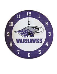 Jardine Wall Clock Mascot Over Warhawks
