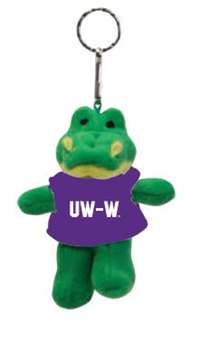 Key Chain - Stuffed Alligator with UW-W Shirt