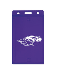 ID Holder - Purple Side Swipe with White Mascot