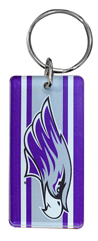 Key Chain - Rectangle Purple Macot Design with Mirror Back