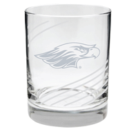 Glass - 14 oz Swirl Cut Rocks Glass with Engraved Mascot
