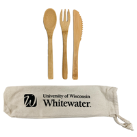 Bamboo Utensils with Imprinted Canvas Drawstring Bag