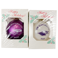 Ornamnet - UW-Whitewater arched over Mascot Mom & Dad 2 Pack Set