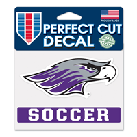 "Decal - 4""x5"" Mascot over Soccer"