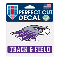 "Decal - 4""x5"" Mascot over Track & Field"