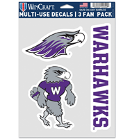 Decal - 3 Pack Mascot Full Mascot and Warhawks