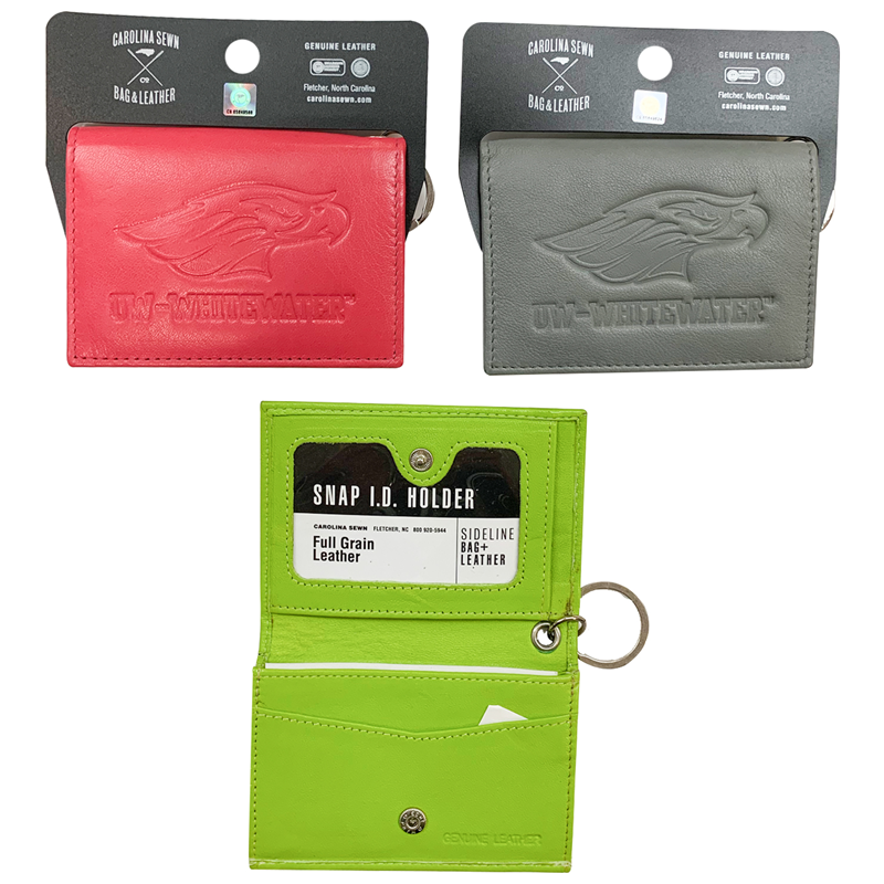 ID Holder - Leather Snap ID Holder Wallet with Mascot over UW-Whitewater (SKU 1058976233)