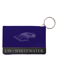 ID Holder - Purple Leather Snap Wallet with Mascot & UW- Whitewater