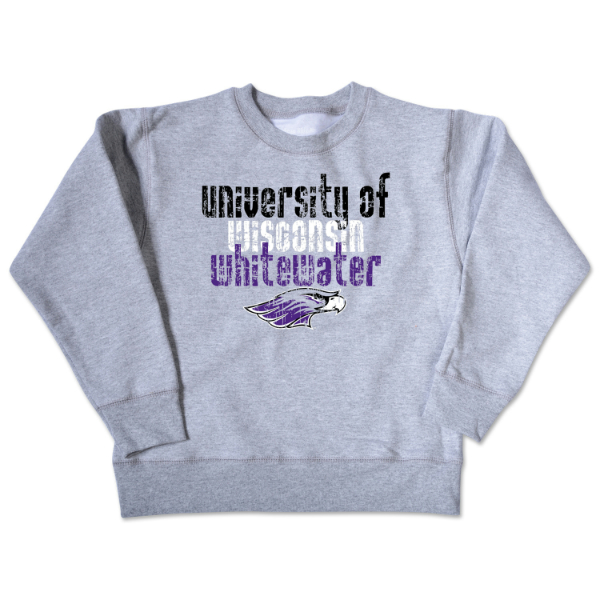 College Kids Grey Crew Univ. Of Wi - Whitewater Mascot Distressed (SKU 1031158588)
