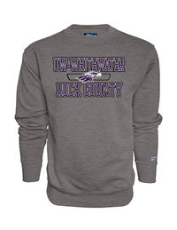 Blue 84 Crew Sweatshirt UW-Whitewater over Mascot and Rock County