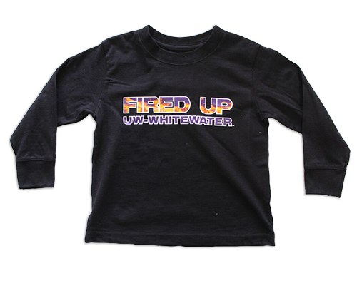 College Kids Black Long Sleeve Fired Up UW-Whitewater (SKU 1046769586)
